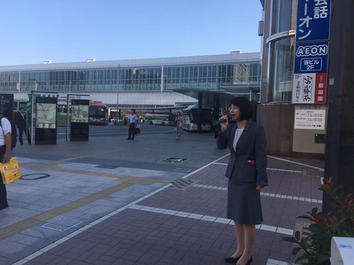 富山市 朝の遊説活動