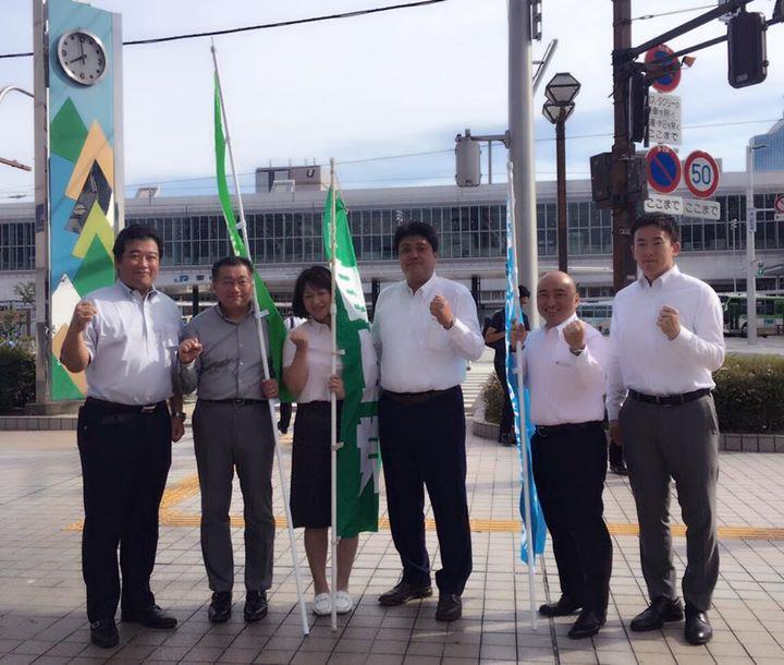 自由民主党富山市連 駅前遊説